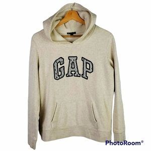 Girls GAP lace over black Spell out beige hoodie M